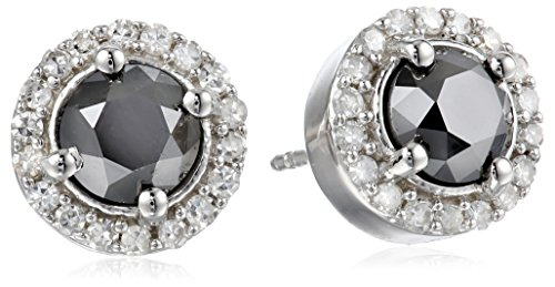Sterling Silver Black and White Diamond Earrings (1.75 cttw)