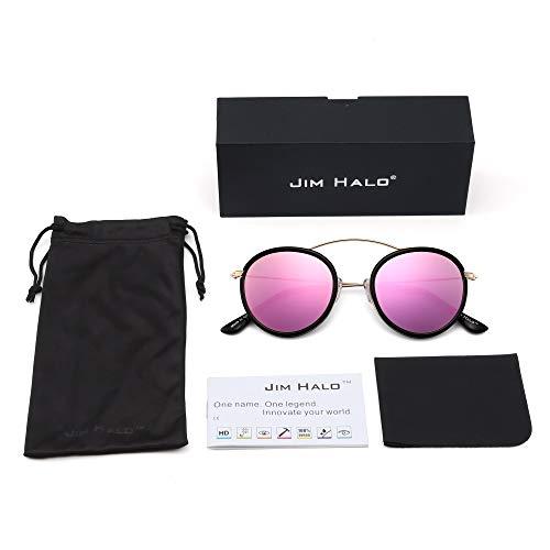 Espejo Sol Espejo Redondas Círculo Retro Gafas Metal Rosa Negro Hombre Sombras de Mujer Anteojos Plano RqTtBZ