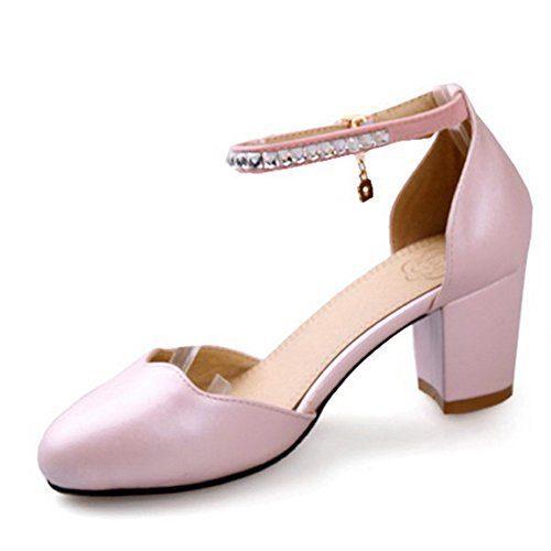 Buckle Solid Womens BalaMasa Pink Sandal Heels Shoes Kitten qOF5nx4