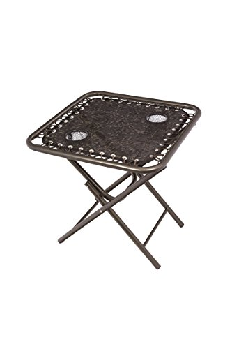 Bliss Hammocks Foldable Sling Side Table with Cupholders, Brown Jacquard