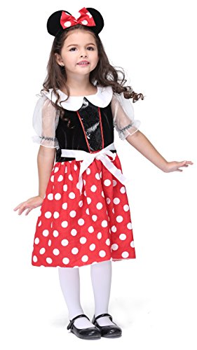 Girlscos Girl's Minnie Mouse Costume Dress 2 Piece Suit Kids Halloween Cosplay Costumes Medium Red (Halloween Costum Ideas)