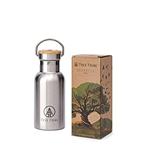Tree Tribe Stainless Steel Water Bottle 12 oz - Indestructible, BPA Free, 100% Leak Proof, Eco Friendly, Double Wall Insulated Technology for Hot and Cold Drinks, Wide Mouth, Bamboo Cap