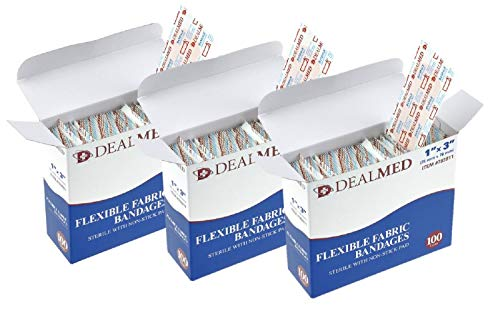 Dealmed Sterile Flexible Fabric Adhesive Bandages with Non-Stick Pad, 1