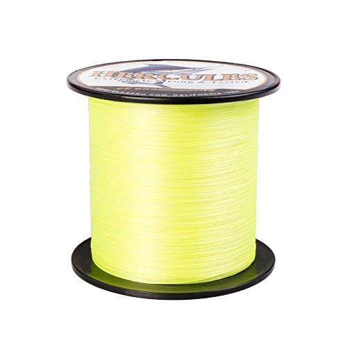 Hercules Braided Fishing Line 500m 547yds 6lbs-100lbs Pe Dyneema 4 Strands (Fluorescent Yellow 20lb/9.1kg (0.2 Mm Hi Line)