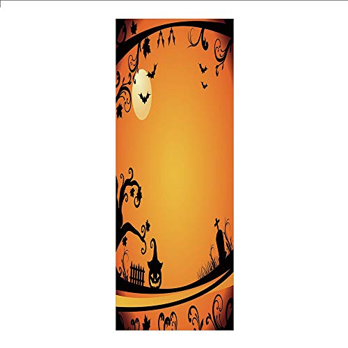 3D Decorative Film Privacy Window Film No Glue,Vintage Halloween,Halloween Themed Image Eerie Atmosphere Gravestone Evil Pumpkin Moon Decorative,Orange Black,for -