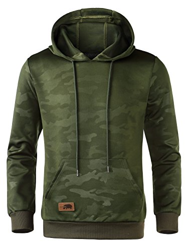 HEMOON Men's Casual Lightweight Drawstring Camouflage Pullover Hoodie Green - Green Camouflage