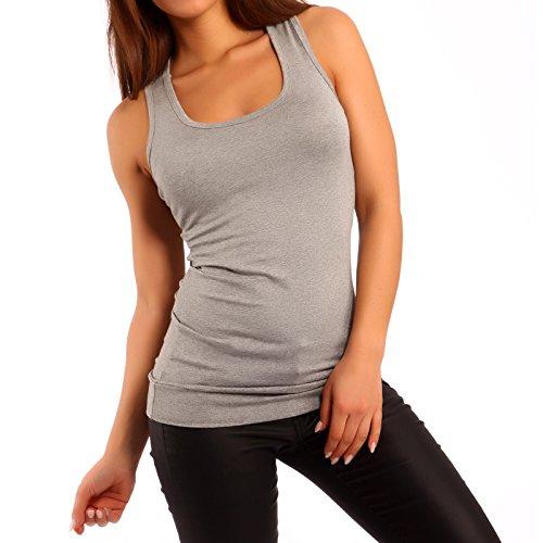 Damen Top Longtop Ringertop , Farbe:Grau;Größe:One Size