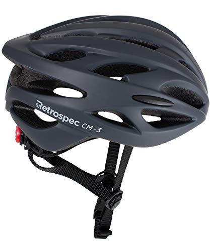 (Retrospec CM-3 Bike Helmet with LED Safety Light Adjustable Dial and 24 vents)