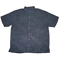Tommy Bahama Downwind to Paradise Mens Light Weight Silk, Summer Camp Shirt XL Dark Grey