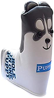 LOXASUM Golf Headcover Leather Putter, 1,#3/5,UT Cute Husky Animal Replacement Covers