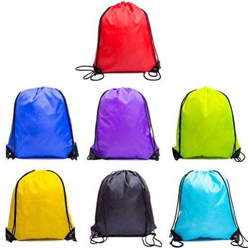 Cinch Nylon (QC Style Drawstring Backpack, Drawstring Bag Sack Cinch Tote Gym bags 7 Pack, 15.75x13.78 Inches)