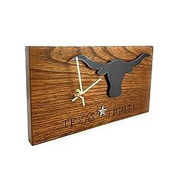 Texas Fight Cedar Wood and Metal Quartz Wall Clock