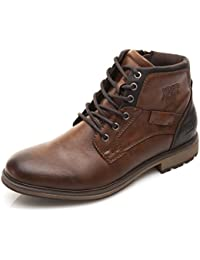 Men's Brown Fashion Lace up Motorcycle Combat Winter Ankle Boots