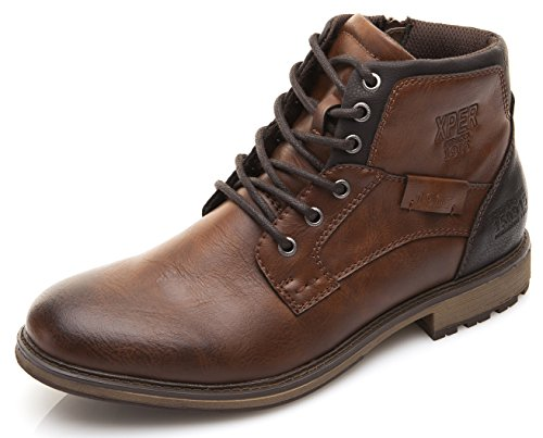 XPER Men's Brown Fashion Lace up Motorcycle Combat Winter Ankle Boots