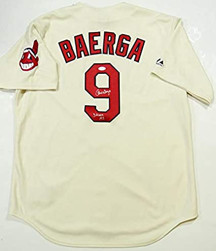 low priced d4ac1 00a06 Carlos Baerga Autographed Cream Majestic Cleveland Indians ...