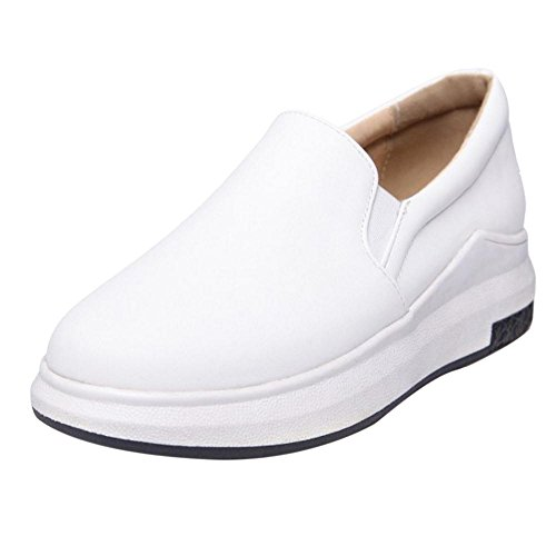 TAOFFEN Women's Casual Platform Shoes White KkjY6xh