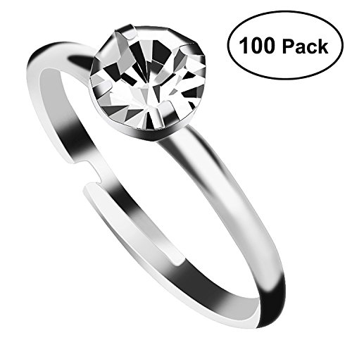 Aboat 100 Pack Silver Diamond Bridal Shower Rings for Wedding Table Decorations, Party Favors - Bridal Shower Decorations Favors