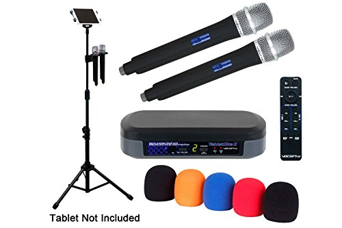 VocoPro Digital Karaoke Mixer with Bluetooth Receiver, Wireless Mics and Professional Tablet Stand (TabletOke-2MC)