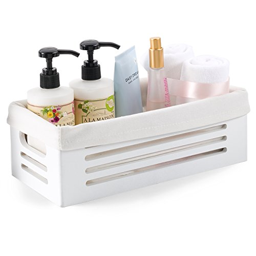 Wooden Storage Bin Container - Decorative Closet, Cabinet and Shelf Basket Organizer Lined with Machine Washable Soft Linen Fabric - White, Extra Small]()
