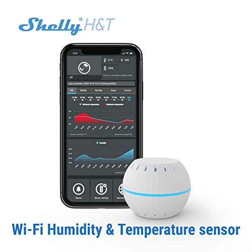 Shelly H&T Humidity and Temperature Wireless Smart Sensor Compact WiFi Hygrometer Monitor Home Automation iOS Android Application
