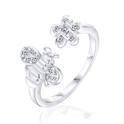 - COLORFUL BLING 925 Sterling Silver Cute Bee Ring Adjustable Open Antique Engagement Rings Toe Band Gift for Women Girls - Silver