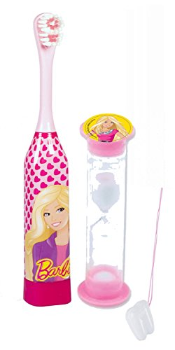 "Barbie Girl 2pc Bright Smile Oral Hygiene Set! Turbo Powered SpinToothbrush & Barbie Brushing Timer! Plus Bonus ""Remember To Brush"" Visual Aid!"