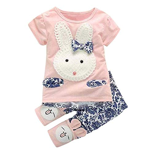Adorable Rabbit Outfits Toddler Baby Girls Clothes Set Cute Bunny Bow Applique T-Shirt+ Pants 2pcs Outfits (Pink, 2-3T) ()