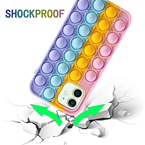 Push Pop Bubble Fidget Sensory Case for iPhone 12/ iPhone 12 Pro Fidget Toy Pop Phone Case Cute Fashion Silicone 3D Design Cover for Girls Women Boys Teen Soft Silicone Protective Cover for iPhone 12