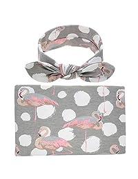 Xuxuan Newborn Receiving Blanket Headband Set Flower Print Baby Swaddle Receiving Blankets