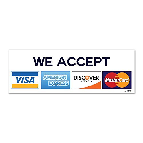 We Accept Visa Mastercard American Express Amex Discover  8  X 2 75  Inch Credit Card Sign Vinyl Sticker  Indoor And Outdoor Use  Rust Free  Uv Protected  Waterproof  Self Adhesive