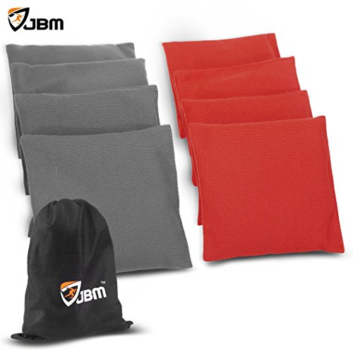 JBM Cornhole Bag 8 Color Available ( Pack of 8 ) Weather Resistant Cornhole Bags with Recycled Plastic Pellets for Tossing Corn Hole Game - Free Carrying Bag Included (Red - Plastic Specs