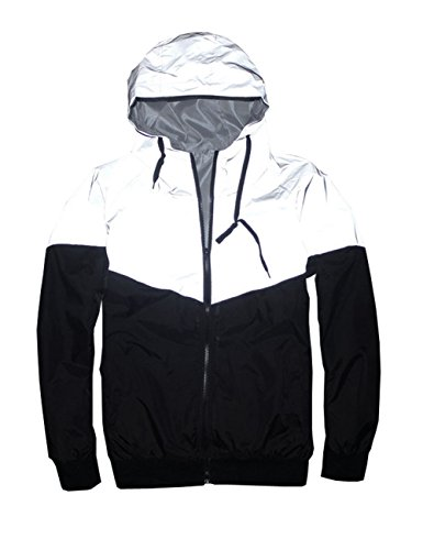 TR Mens 3M Reflective Jacket Coat Hight Visibility Cycling Jacket (Asia XL= US M, Grey-A) (Jacket Coat Reflective)