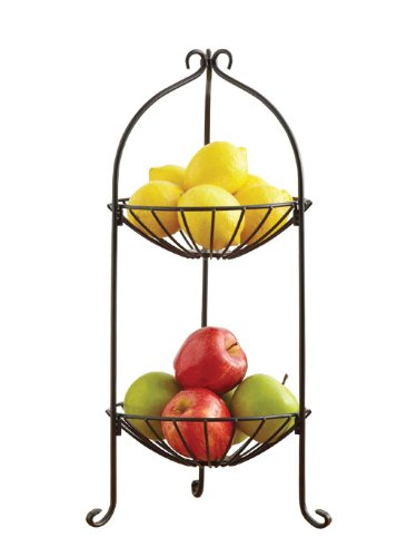 HOME BASICS 2-Tier Fruit Stand, Bronze, White HDS TRADING CORP FB00395