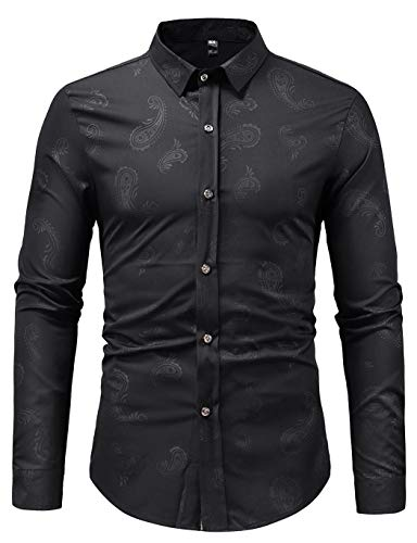 HOP Fashion Mens Long Sleeve Shirts Casual Paisley Print Slim Fit Button Down Dress Shirt HOPM308-Black-XL