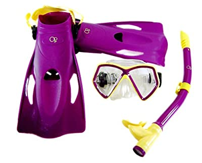 Youth Mask,Fin, Snorkel Set Package for Snorkeling and swiming Ages 6-12 (Purple)