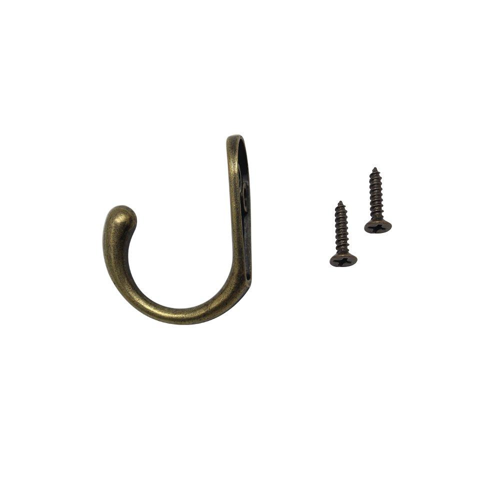 ... Hook,Yotako 10x Double Robe Hook Prong+ 10x Single Wall Hanger w/50x Hook Screw, Coat Hook Decorative Metal Wall Hanging Hooks for Entryway Key Hats Cup ...