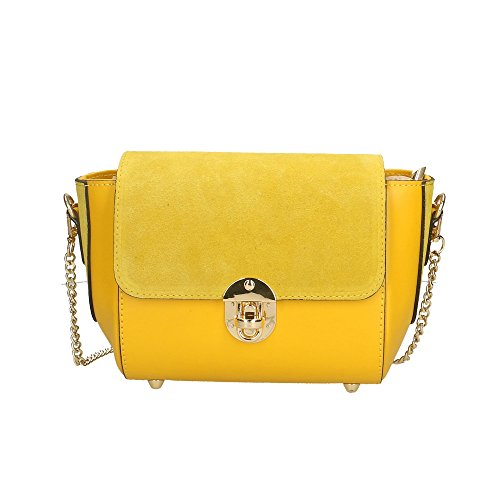 hombro 26x18x10 Amarillo en Italy Cm in cuero bolsa Mujer genuino de Aren Made v7wtAWq4B