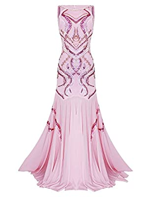 Vijiv Women's 1920s Beaded Straps A-Line Floor Length Gatsby Prom Evening Dress