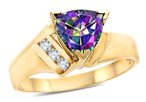 Star K Mystic Topaz Trillion 7mm Contemporary Designer Ring 10 kt Yellow Gold Size 4