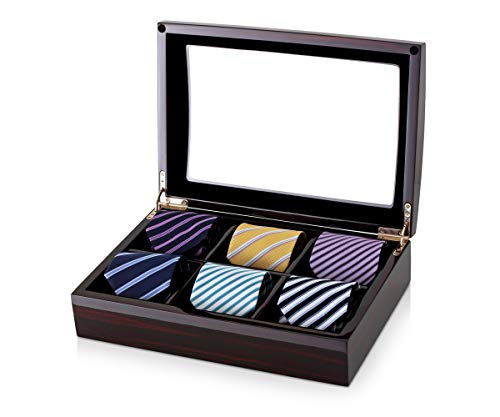 - Timecube 6 Tie Organizer Box for Men Neckties with Wooden Finish (Ebony + Black)