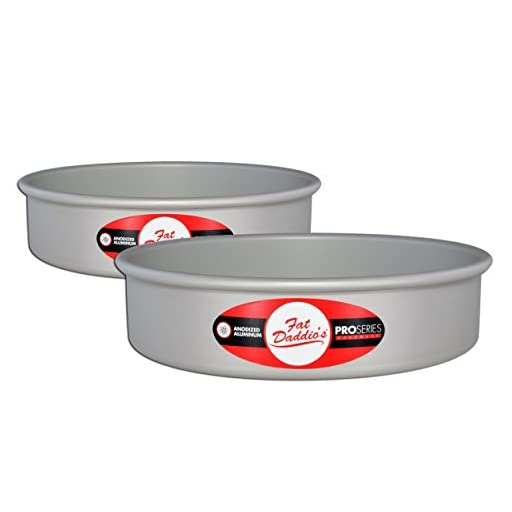Fat Daddio's Anodized Aluminum Round Cake Pan, 6 Inches by 3 Inches, Set of 2