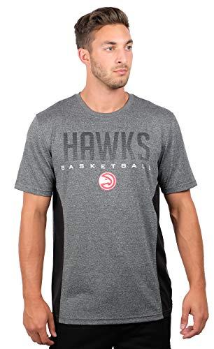 Ultra Game NBA Atlanta Hawks Men's Athletic Quick Dry Short Sleeve Tee Shirt, Large, Charcoal