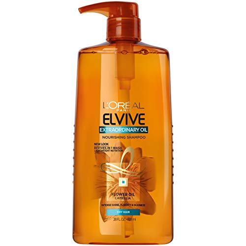 (L'OrÃal Paris Elvive Extraordinary Oil Nourishing Shampoo, for Dry or Dull Hair, Shampoo with Camellia Flower Oils, for Intense Hydration, Shine, and Silkiness, 28 Fl. Oz)