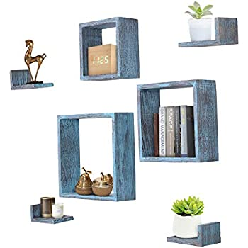 Comfify Rustic Wall Mounted Square Shaped Floating Shelves - Set of 7 - 3 Square Shelves and 4 L-Shaped Rustic Shelves - Screws and Anchors Included - Rustic Wall Décor - Rustic Blue
