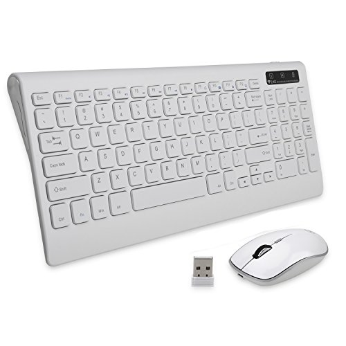 PRO+ Wireless Keyboard Mouse Combo Rechargeable Quiet Key compact for PC Laptop (White) by PRO+