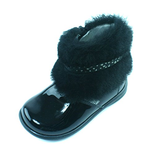ZIVAGO Step2wo Baby High Bootee Flat for Girls in Black Patent Größe 21