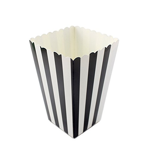 (IPALMAY Black and White Striped Mini Paper Popcorn Boxes - Treat Boxes - Birthday Favor Box - Snack Boxes, Family Movie Night Boxes, Set of)