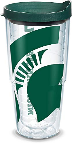Tervis 1093916 Michigan State Spartans Mascot Colossal Tumbler with Wrap and Hunter Green Lid 24oz, Clear