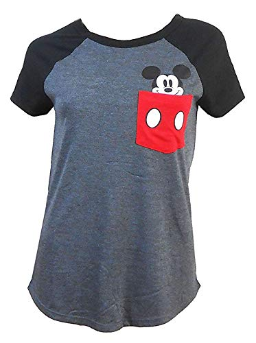 (Disney Ladies Pocket Size Mickey Mouse Tee Charcoal/Black X-Large)