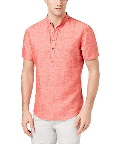 INC International Concepts Men's Cameron Linen Shirt (Hot Sauce, X-Large) Cameron Button Down Shirt